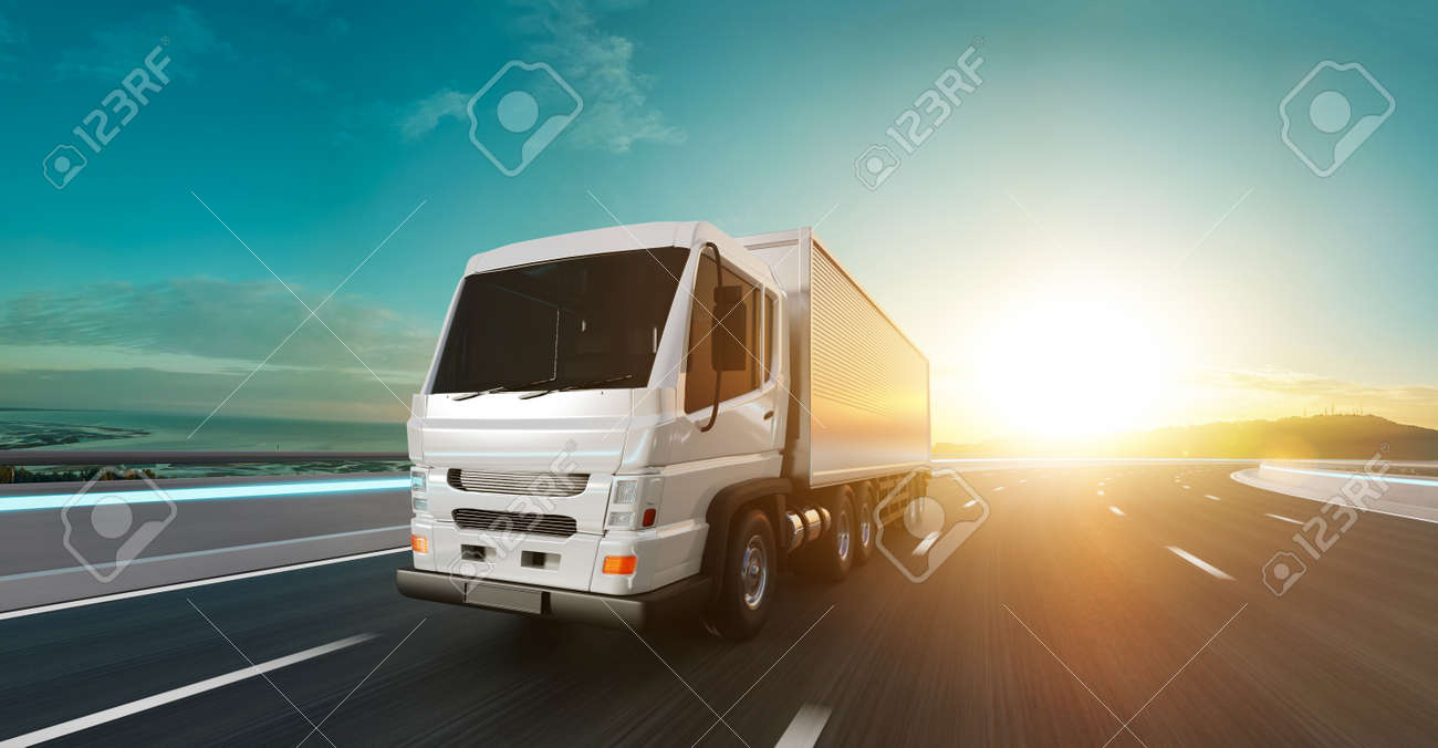 Delivery truck run on the road with sunrise landscape, fast delivery, cargo logistic and freight shipping concept. 3d rendering. - 168991582