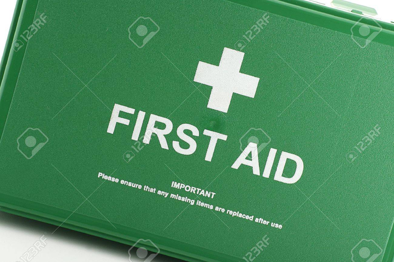 front view of green first aid box Stock Photo - 11838252