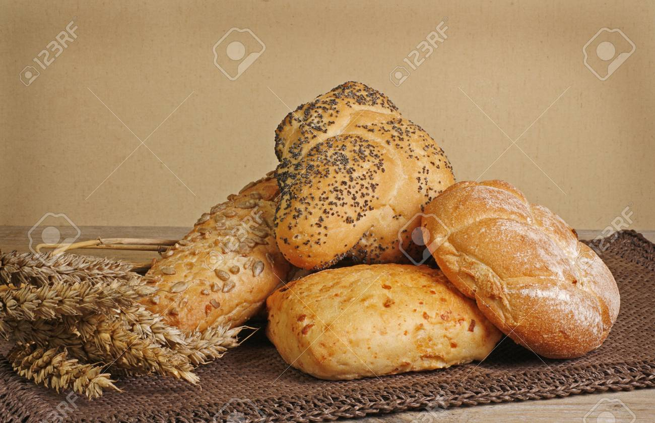 selection of rustic bread on a wooden table Stock Photo - 12435083