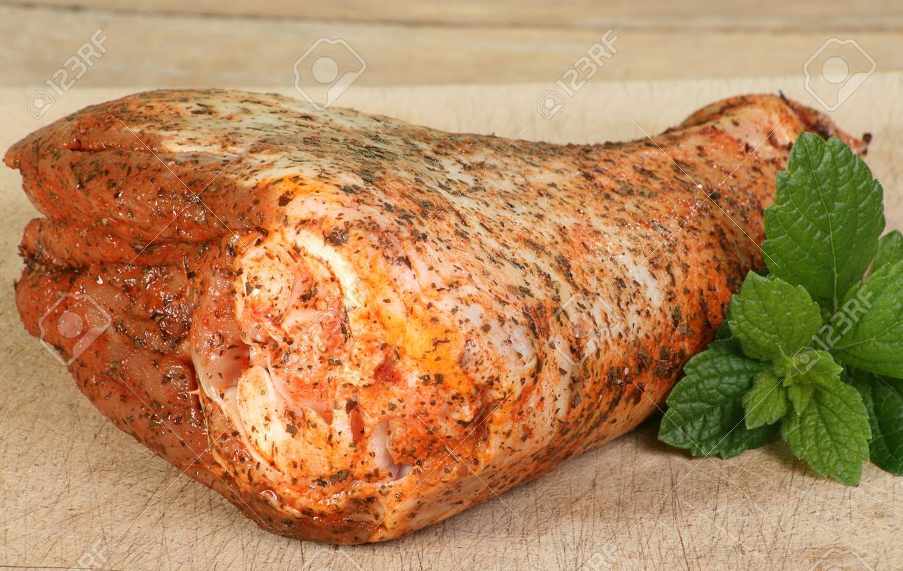 raw minted lamb shank on a wooden board Stock Photo - 15522196