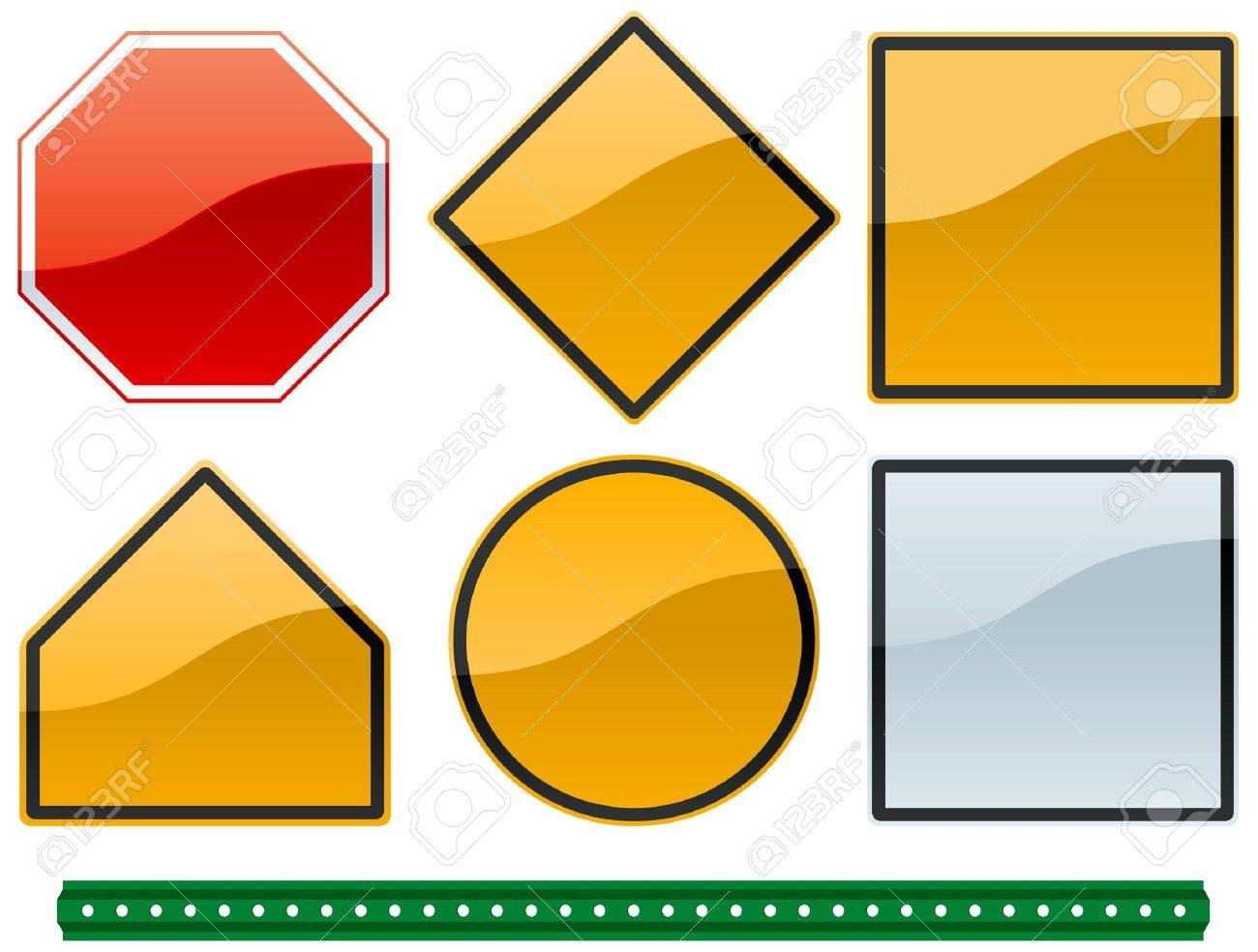 A Set Of Common Road Sign Shapes And Metallic Colors With Post Stock Photo