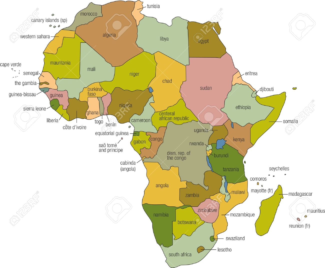 A Full Color Map Of Africa With Country Names Called Out Stock Photo