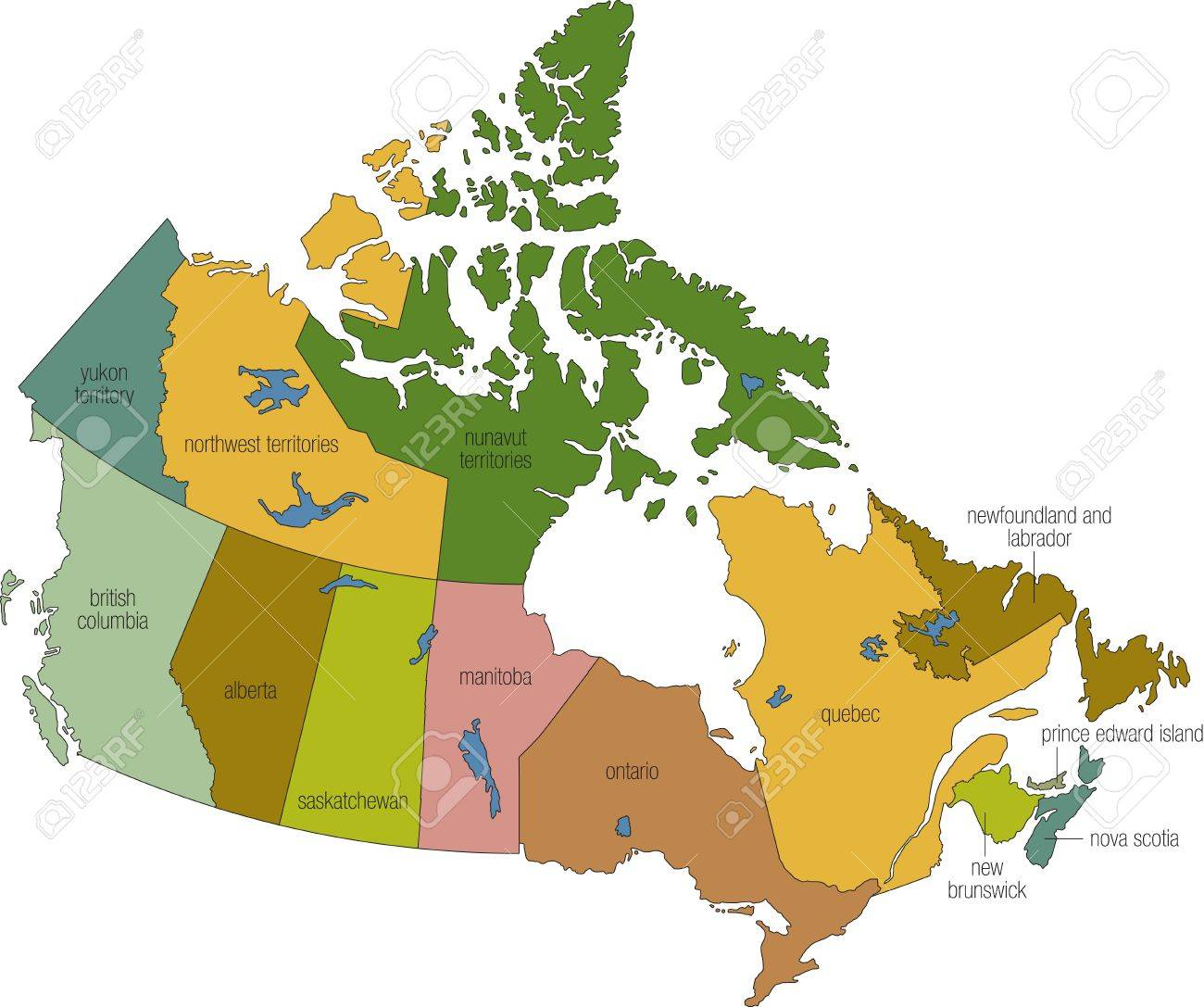 A Full Color Map Of Canada With Province Names Called Out Stock