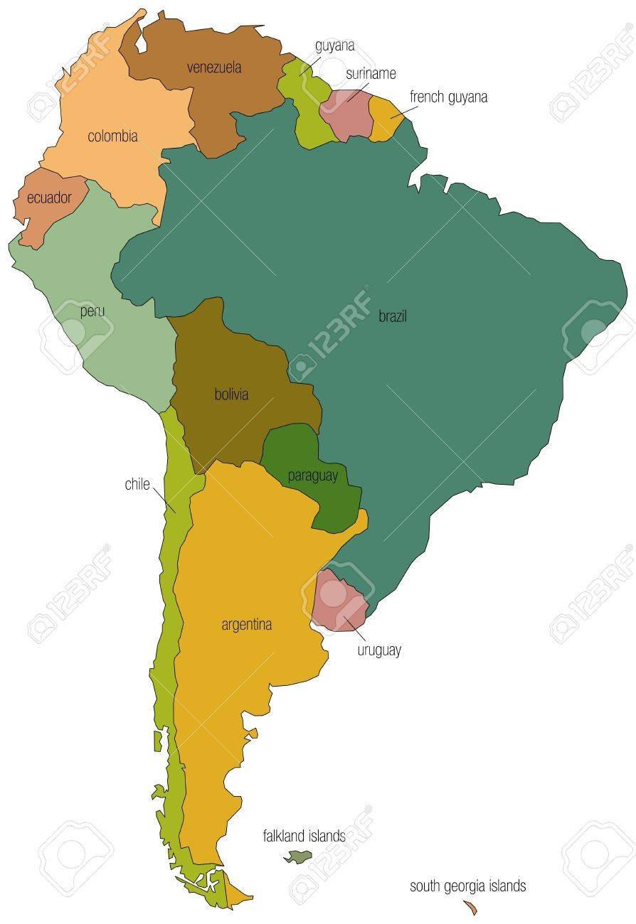 A Full Color Map Of South America With The Country Names Called