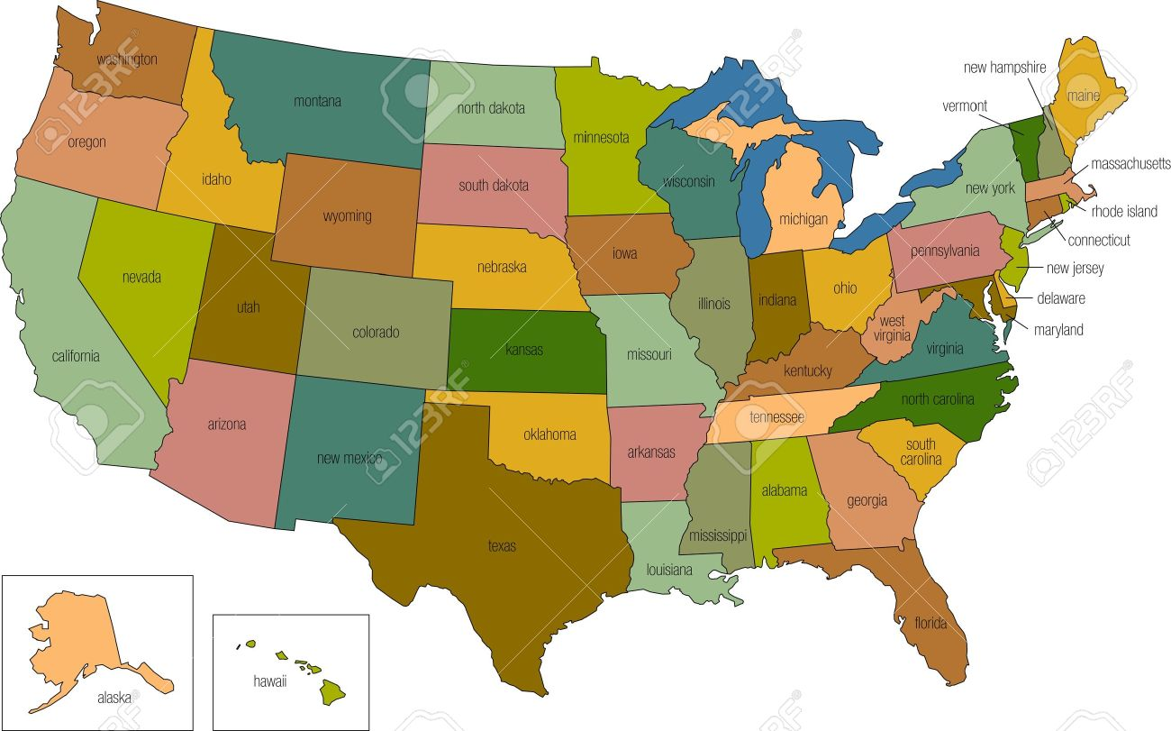 a full color map of the united states of america with the state names called out Stock Photo - 8670162