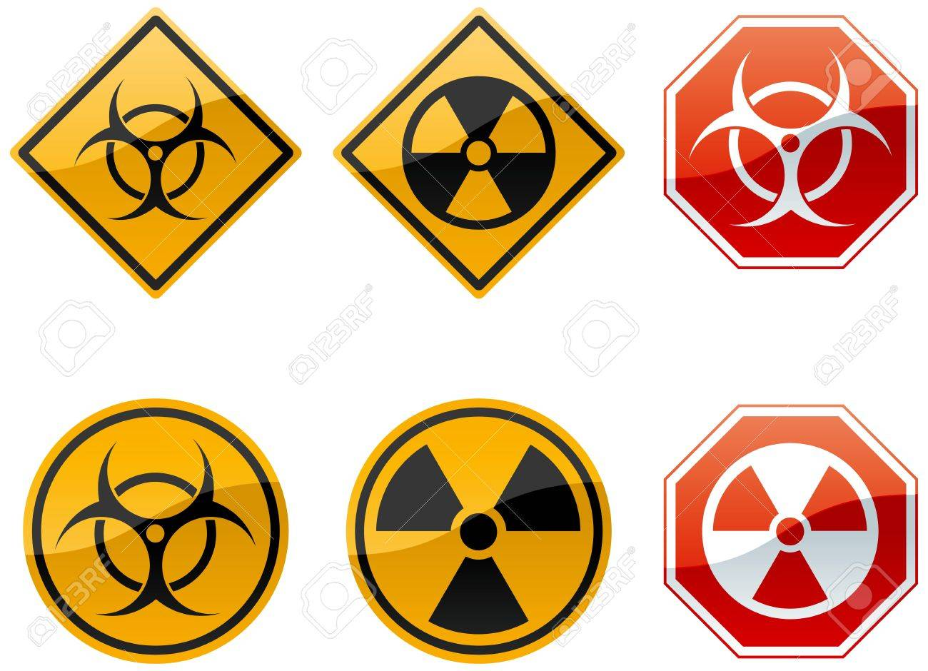Set Of Six Warning Signs Biohazard And Nuclear Stock Photo Picture
