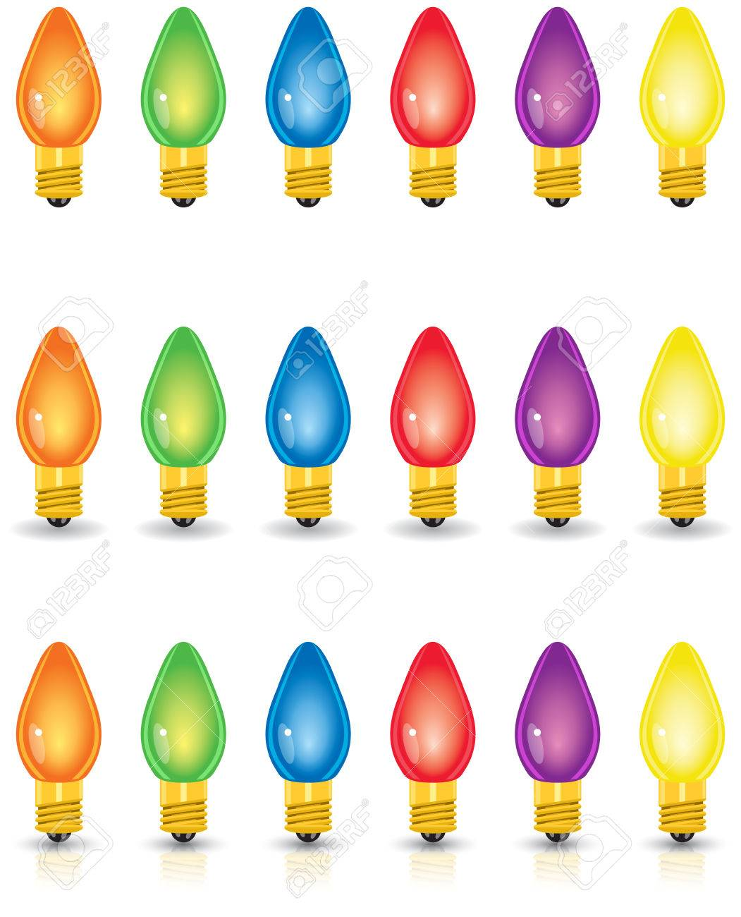Individual Colored Christmas Lights, Isolated, With Shadow And ...