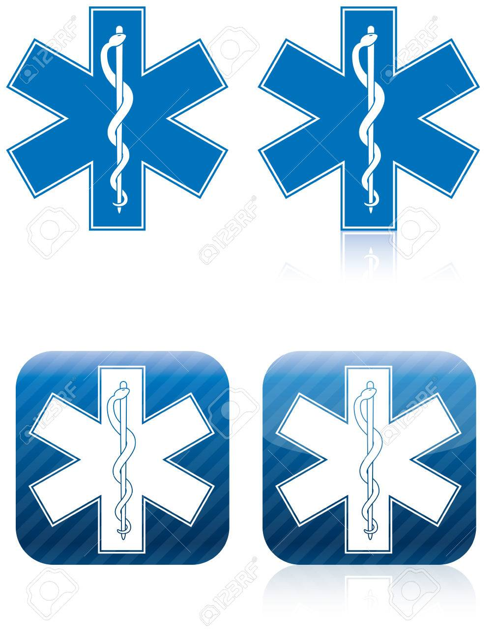Emergency Medical And Rescue Symbol Rod Of Asclepius Stock Photo