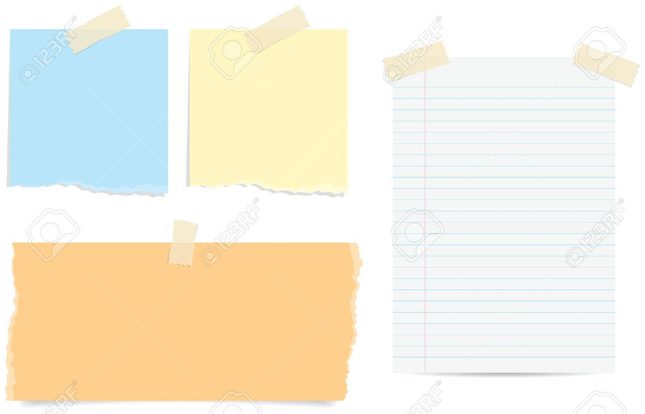 Various Styles Of Torn And Lined Paper Notes With Tape Photo – Lined Chart Paper