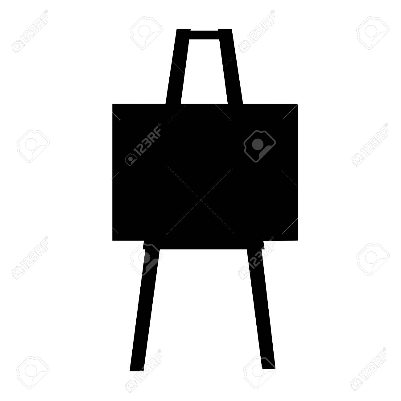 Black And White Silhouette Of An Art Easel Silhouette Royalty Free