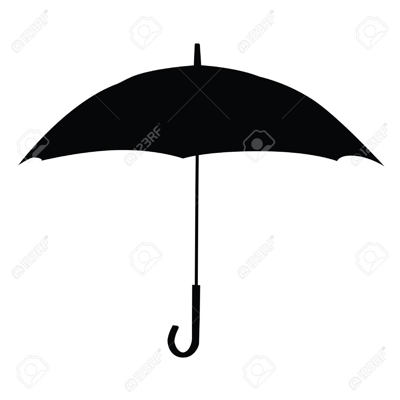 A black and white silhouette of an umbrella stock vector 84732025