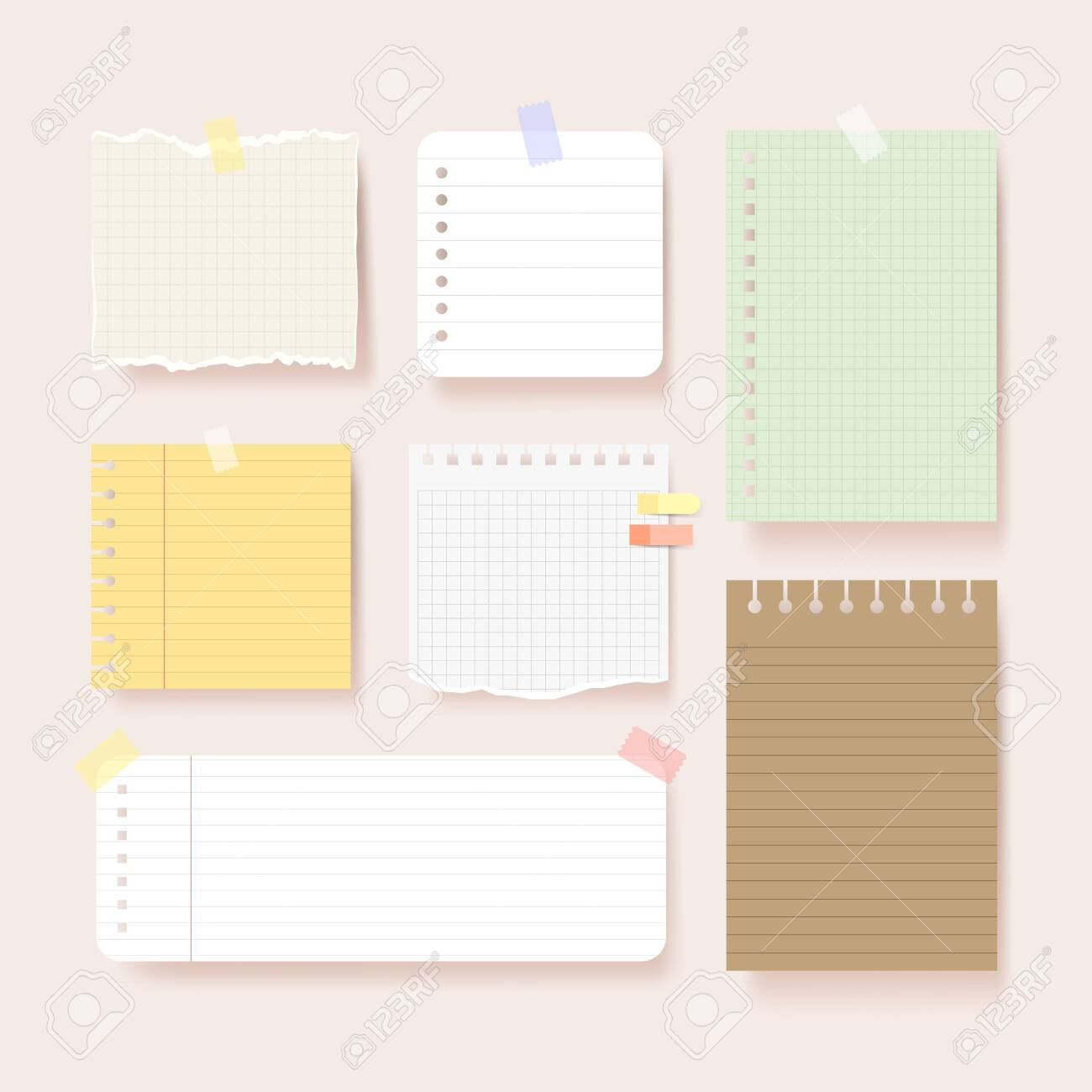 Scrapbook papers. Blank notepad pages vector illustration.Paper glued to wall with tape - 153013061