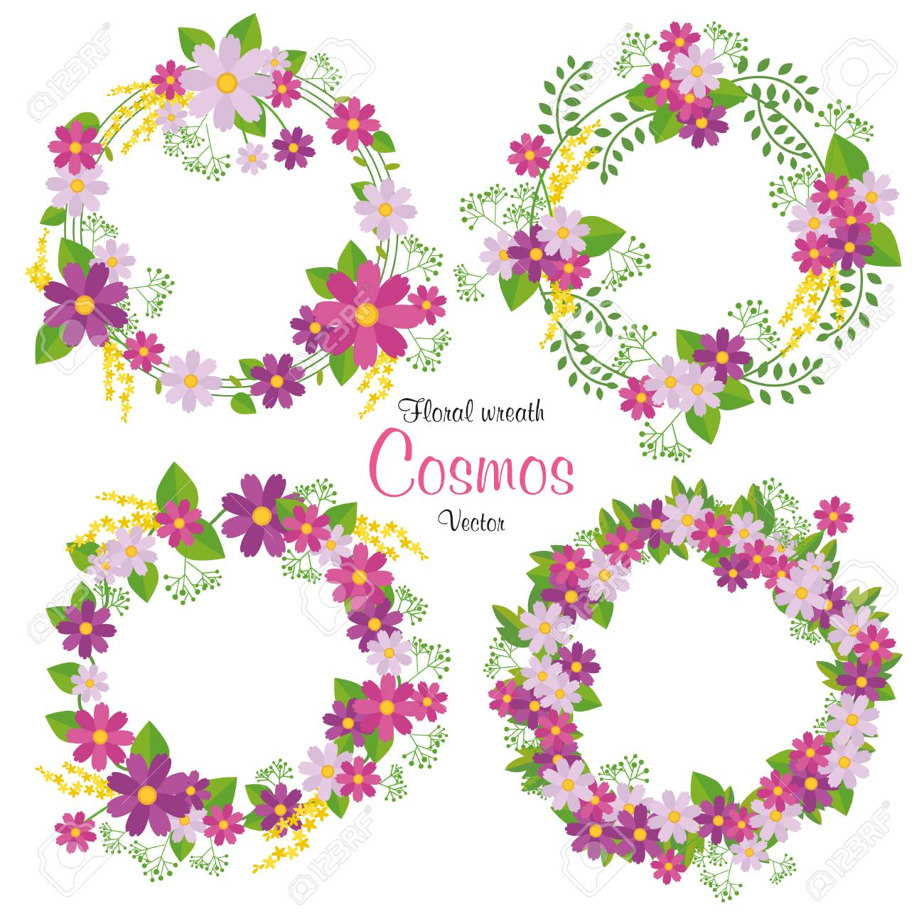 Hand Drawn Vector Floral Wreath Illustration Set, Wreath Of Flowers ...