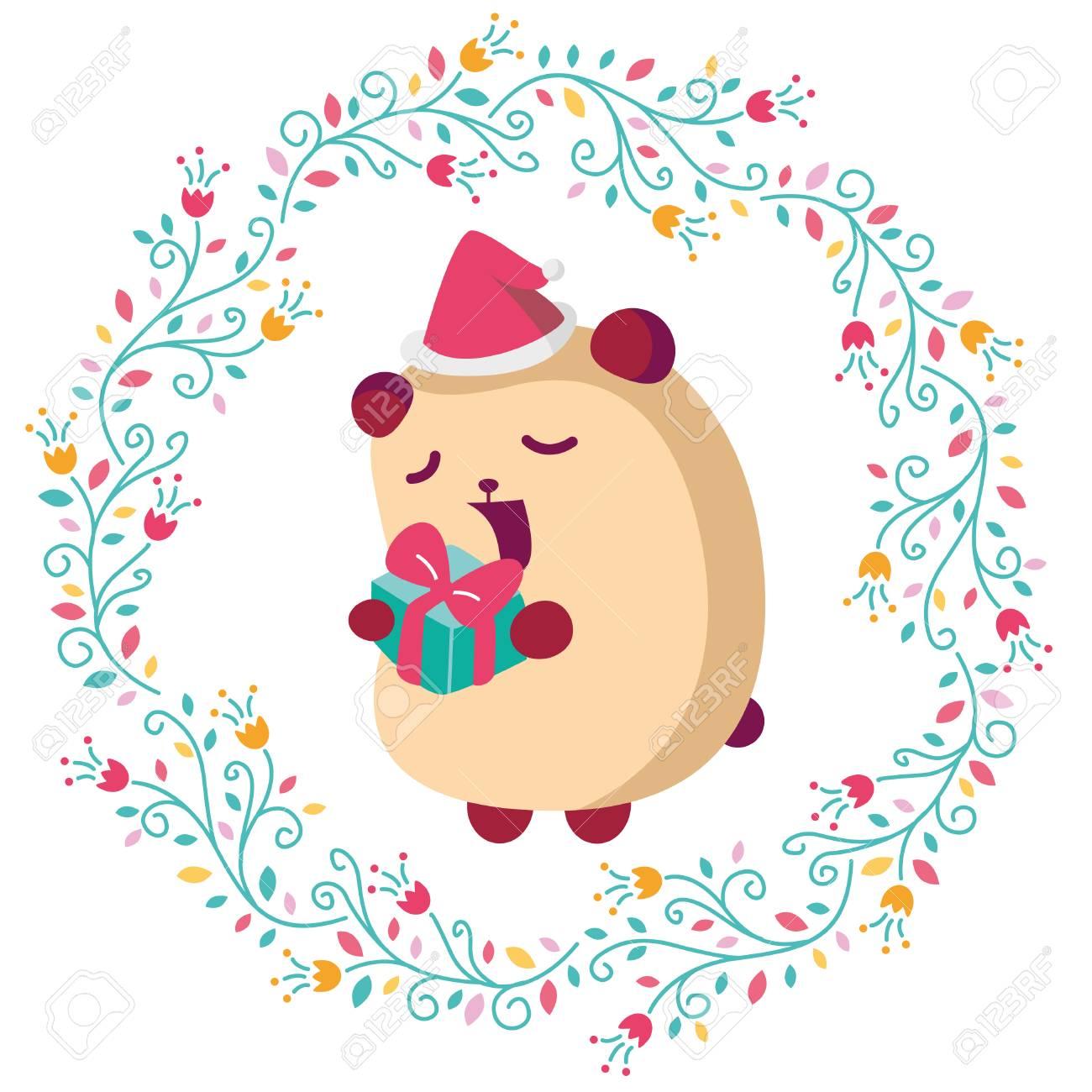 手描きベクトル花の花輪かわいいベア漫画幸せの年賀状イラストの