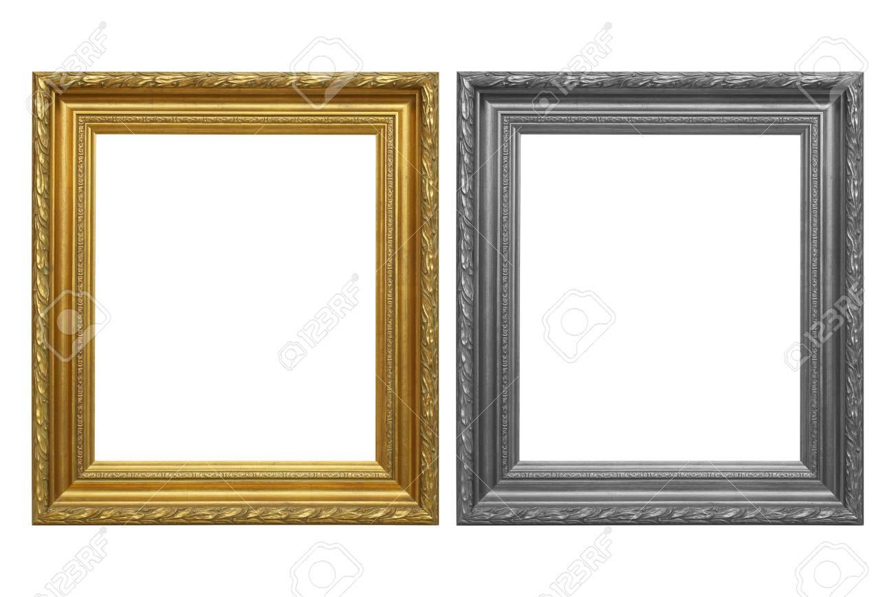 Der Antike Goldrahmen Und Grauer Rahmen Auf Dem Weißen Hintergrund ...