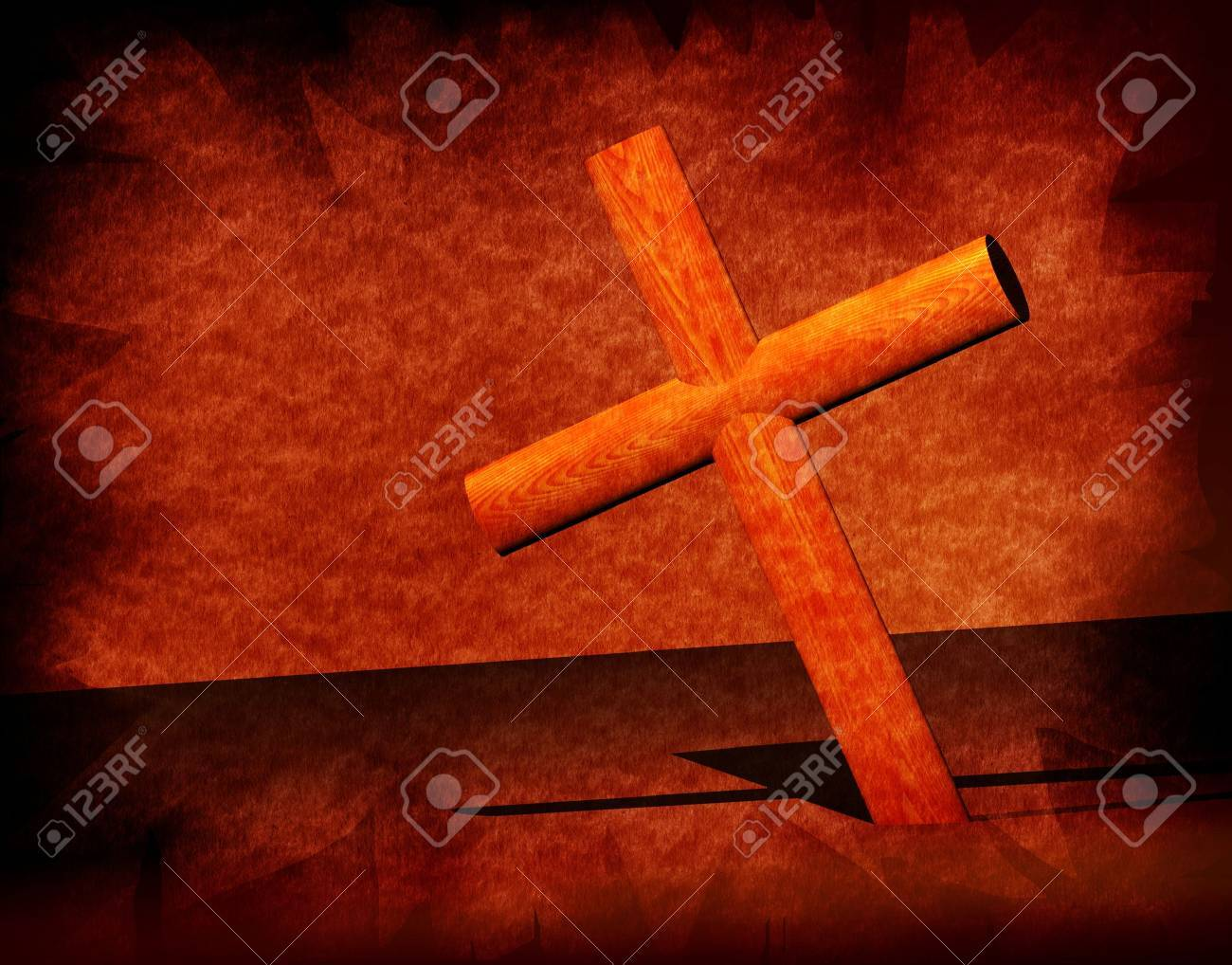 Holy cross with old yellow paper 2D  art Stock Photo - 3330821