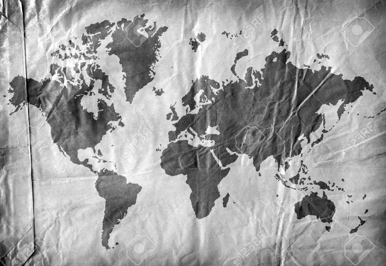 Vintage World MapD Digital Art Stock Photo Picture And Royalty - Black and white vintage world map