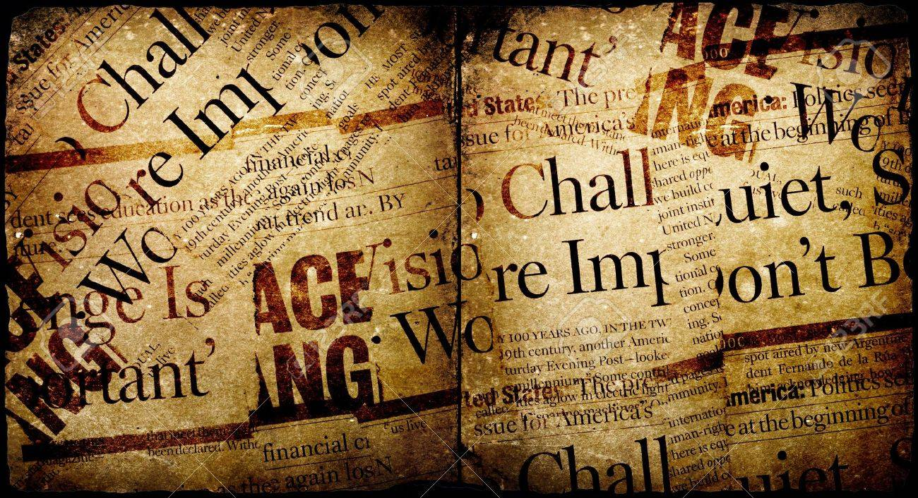 News paper text with old paper Stock Photo - 3406362