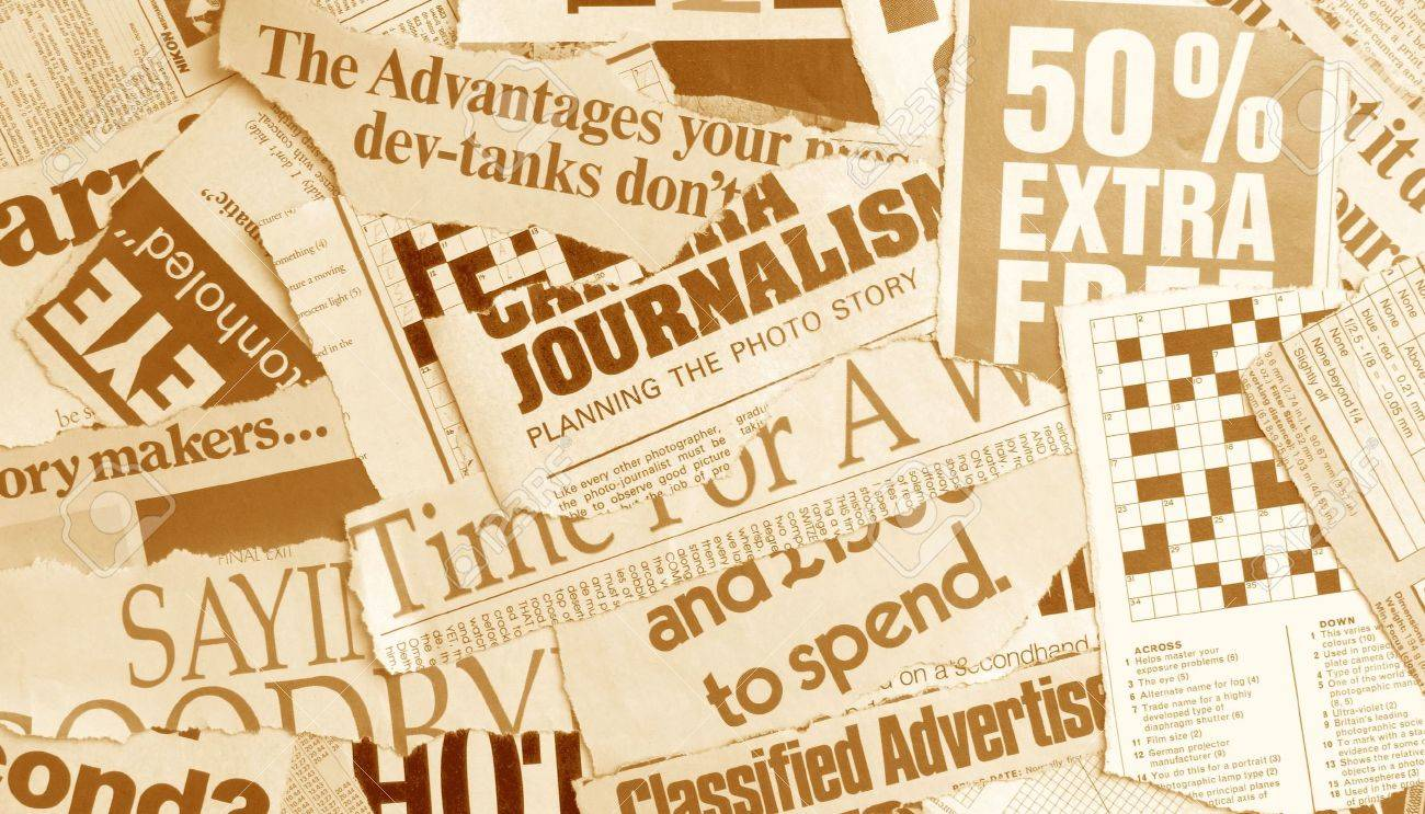 News paper text with old paper Stock Photo - 3406455