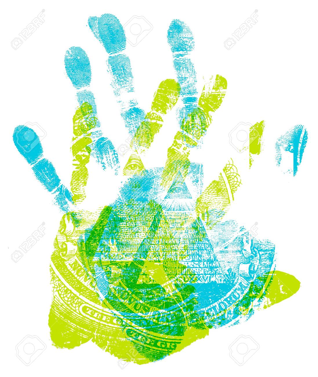 printout of human hand with us dollar marks stock photo picture and