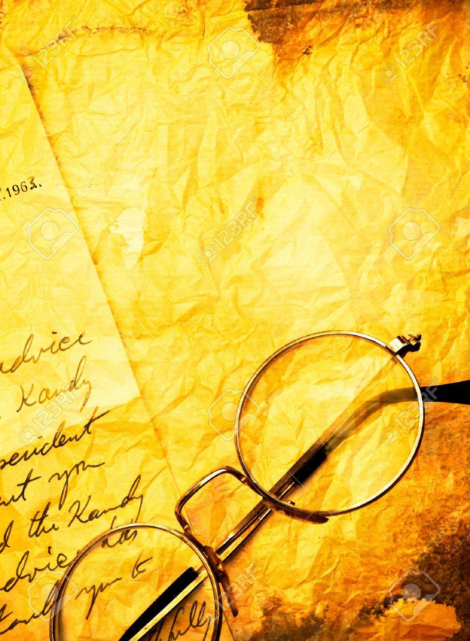 close up of Vintage paper background with old  eyeglasses Stock Photo - 10764953