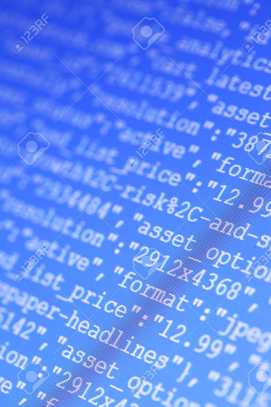 Close up of HTML codes on LED screen - 31236915