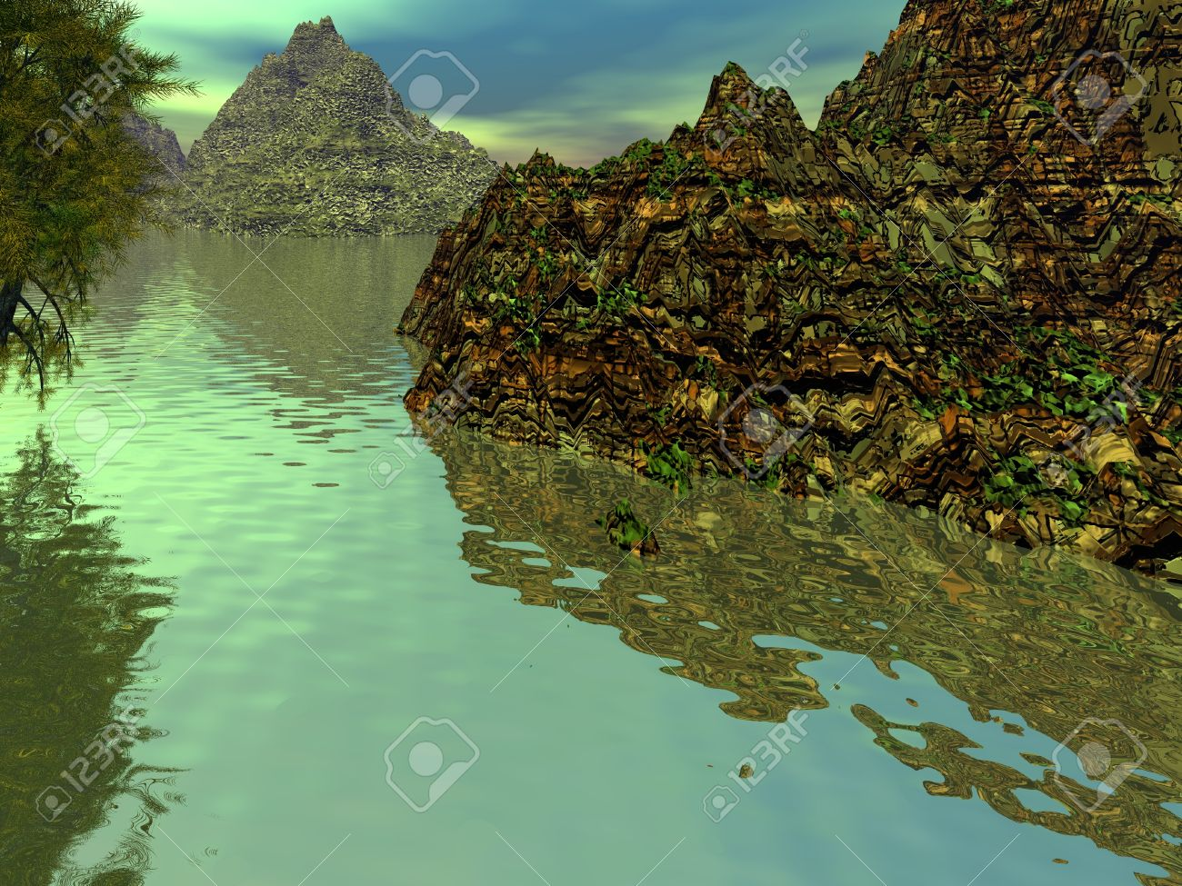 Fantasy Landscape, Mountains And Water. 3D Illustration Stock ... for Fantasy Water Landscape  104xkb