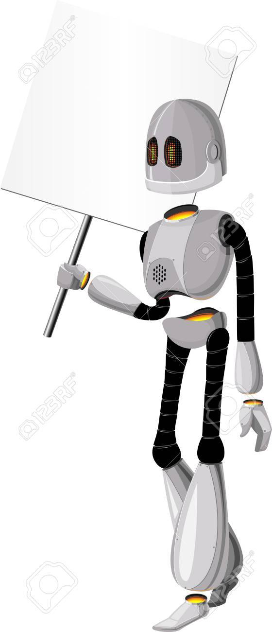 Robot with a banner on a white background Stock Vector - 13883783