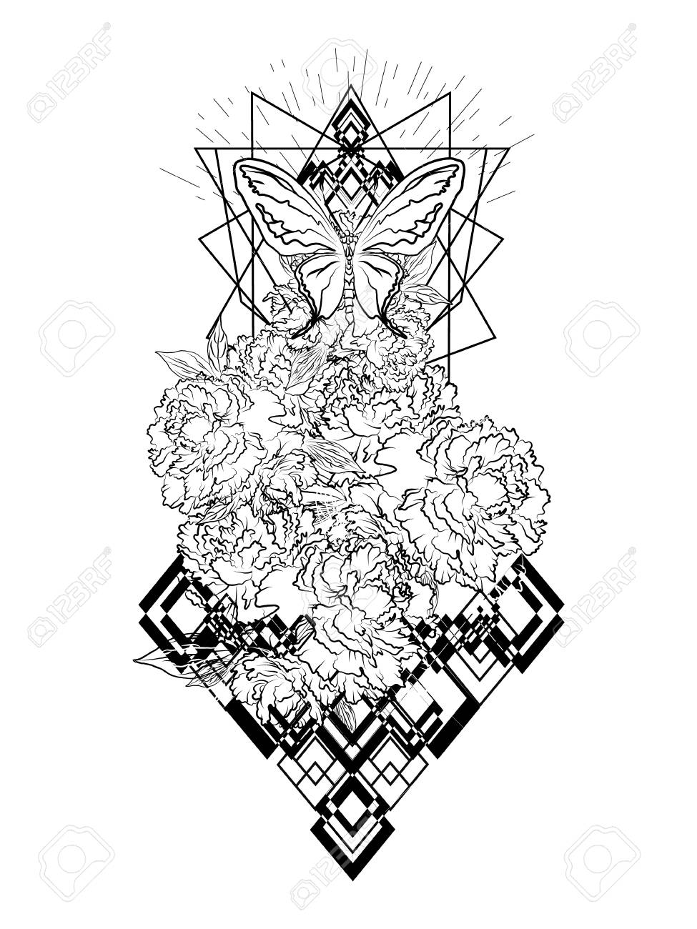 Boho Print Bouquet With Peony Flowers Beautiful Black And White Royalty Free Cliparts Vectors And Stock Illustration Image 109707426