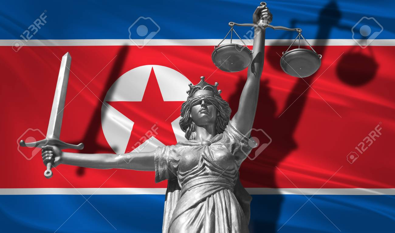 Cover about Law  Statue of god of justice Themis with Flag of