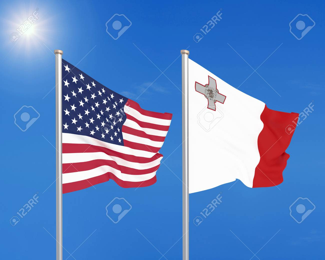 United States Of America Vs Malta. Thick Colored Silky Flags.. Stock on