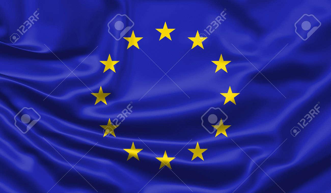 Realistic flag. Waving flag of the European Union. 3d illustration. - 152535043