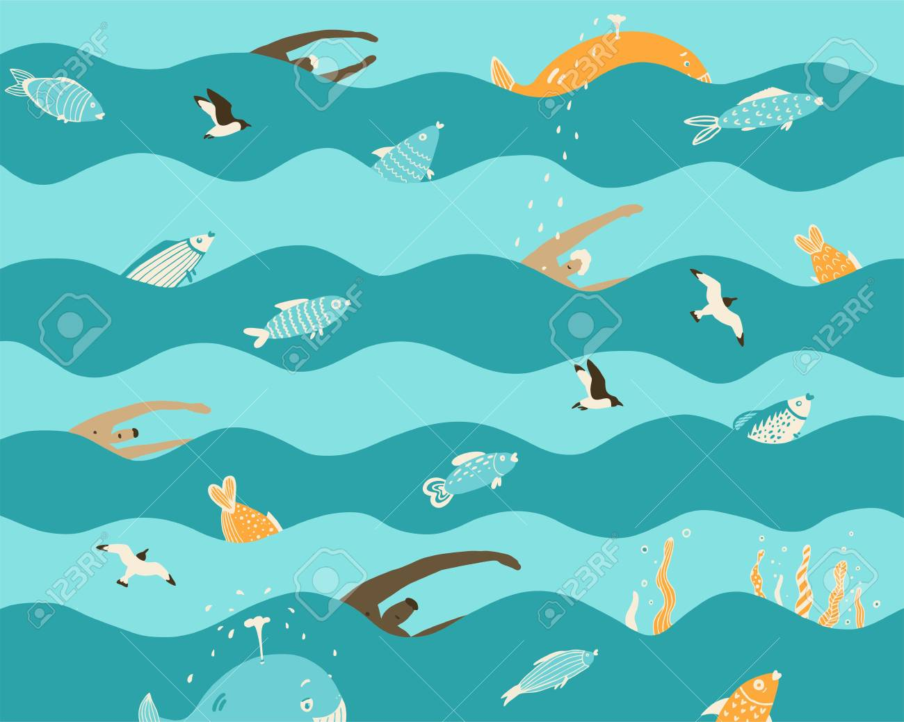 Men Swim In The Sea On The Waves With Fish And Whales Seagulls
