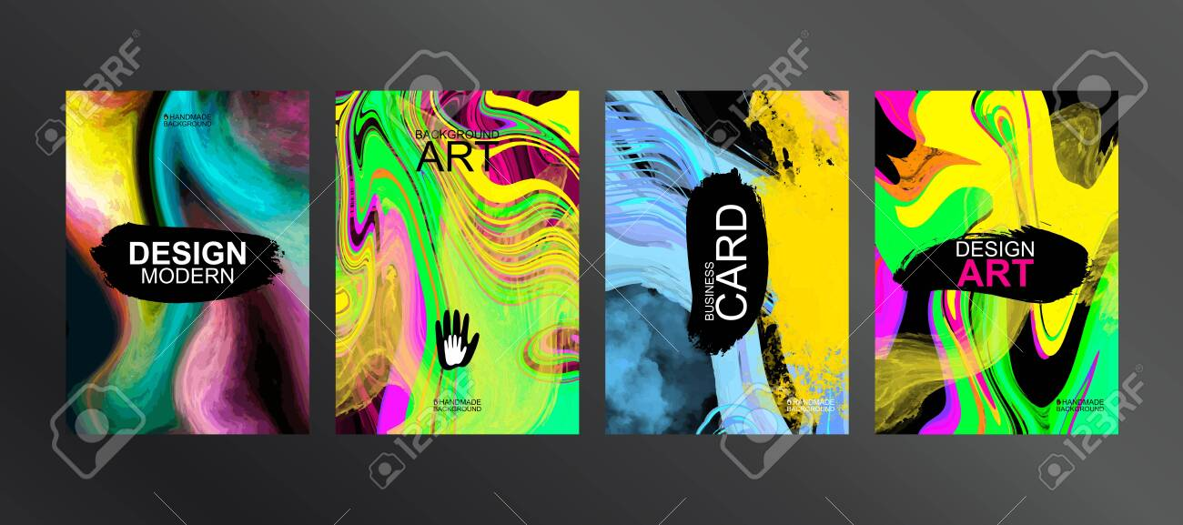 Unique design of packaging, booklets, banners, brochures, flyers, business cards, souvenirs, notebooks. Bright cover. Elements for print design. Canvas brush strokes. The perfect color combination - 147852061