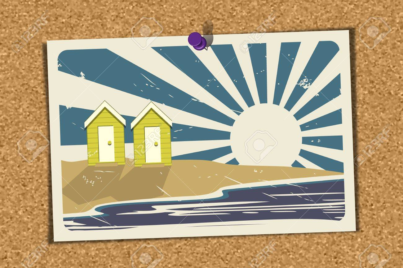 Illustration Of A Beach Holiday Postcard Pinned On A Noticeboard ...