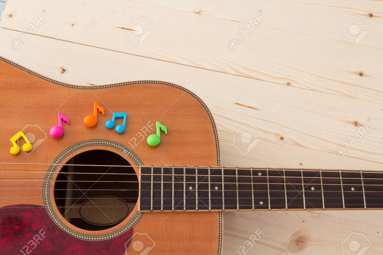 music notes letters on guitar