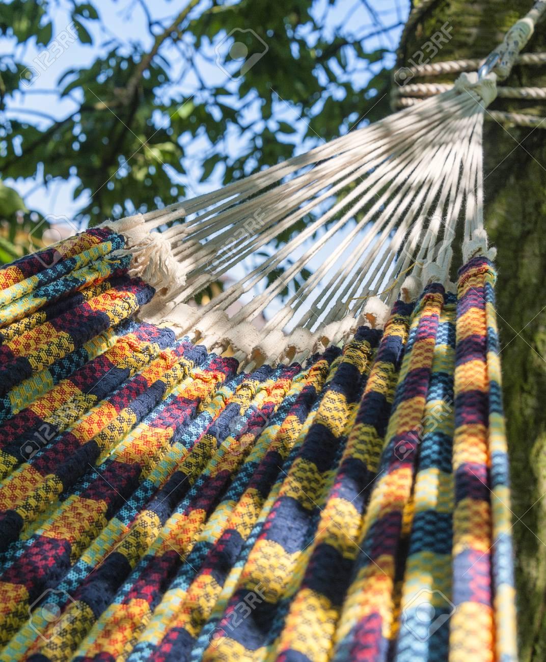 Comfortable Woven Hammock Hanging In A Garden. Stock Photo   65567954