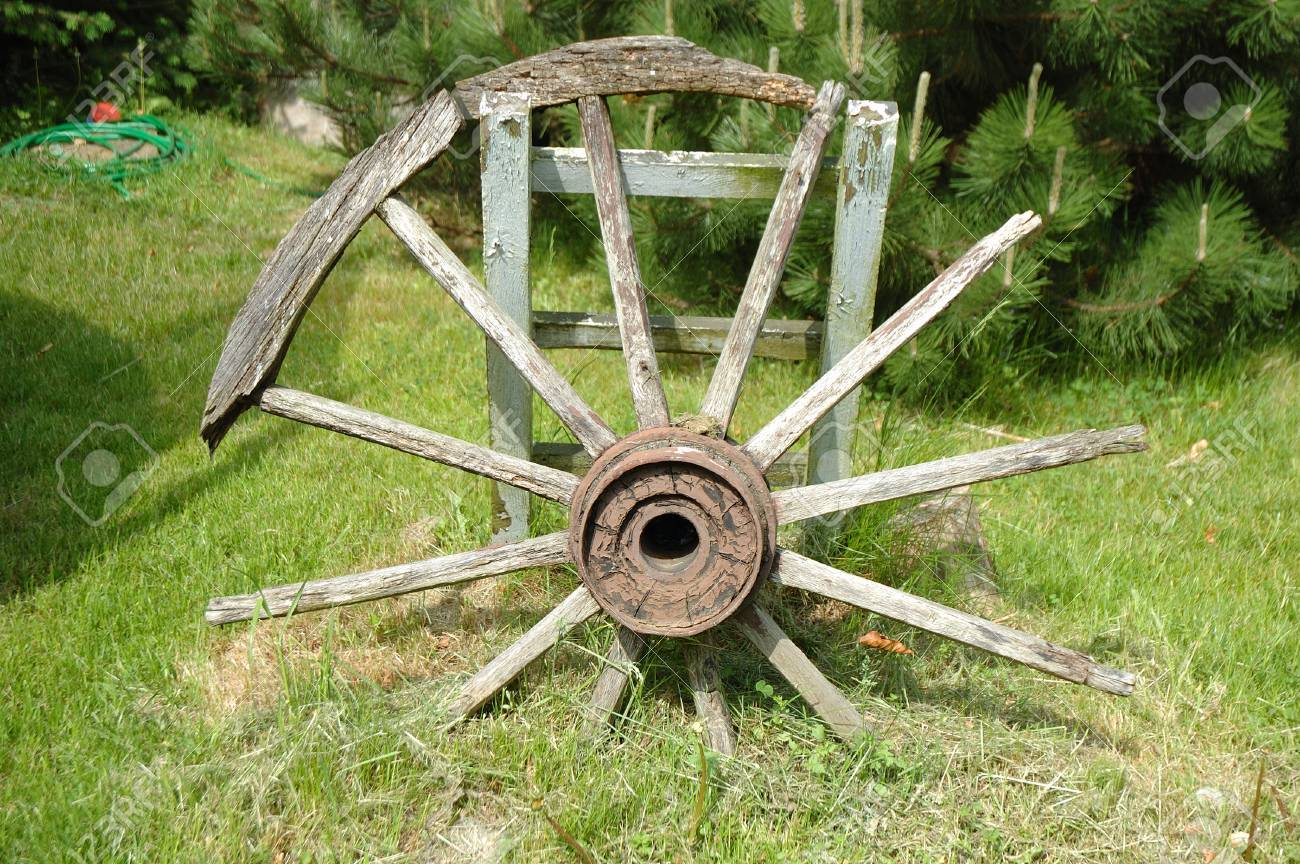 Old Devastated Wooden Wagon Wheel Standing In Garden Stock Photo Picture And Royalty Free Image Image 28916447