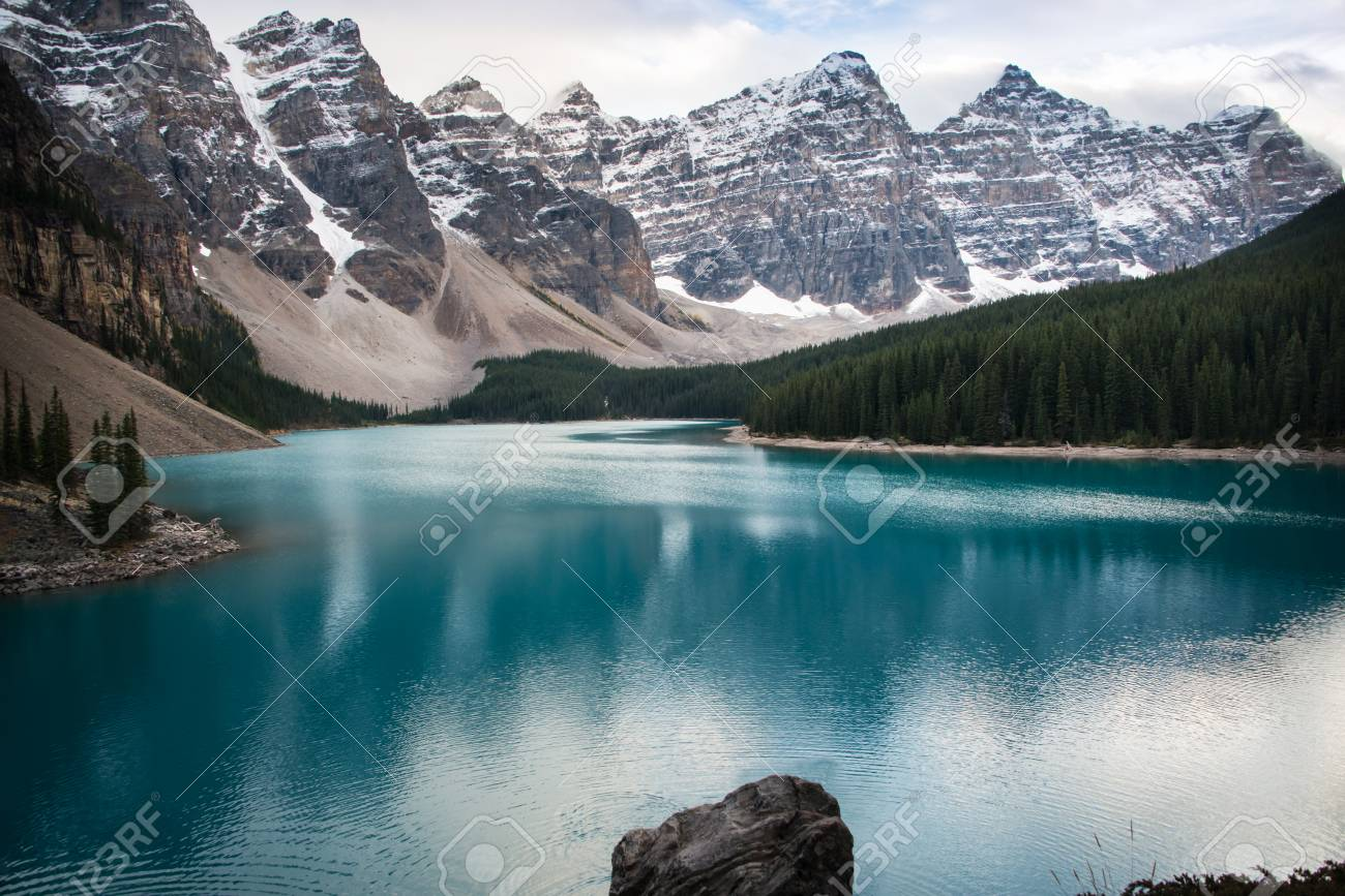 Moraine Lake From The Rockpile Valley Of The Ten Peaks Alberta
