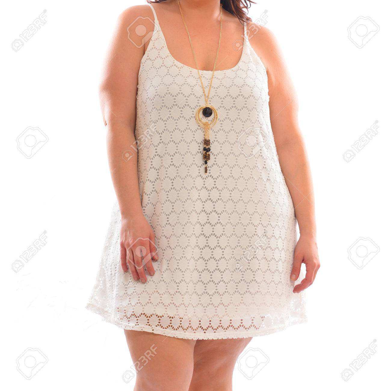 Plus size fashion model woman wearing stylish white summer dress..