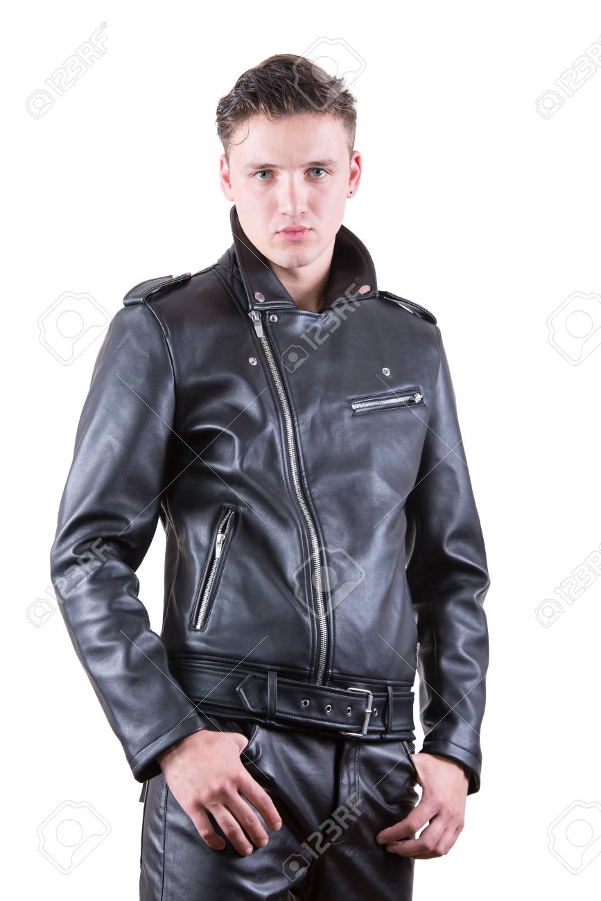 famous brand great deals coupon code Handsome fashion man, beauty male model portrait wear black leather..