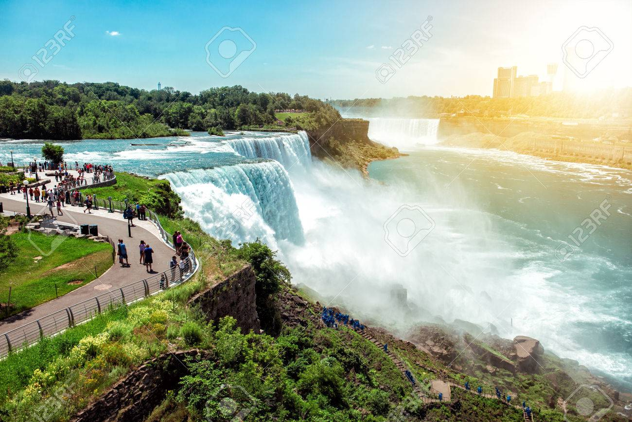 American Side Of Niagara Falls Ny Usa Tourists Enjoying Beautiful