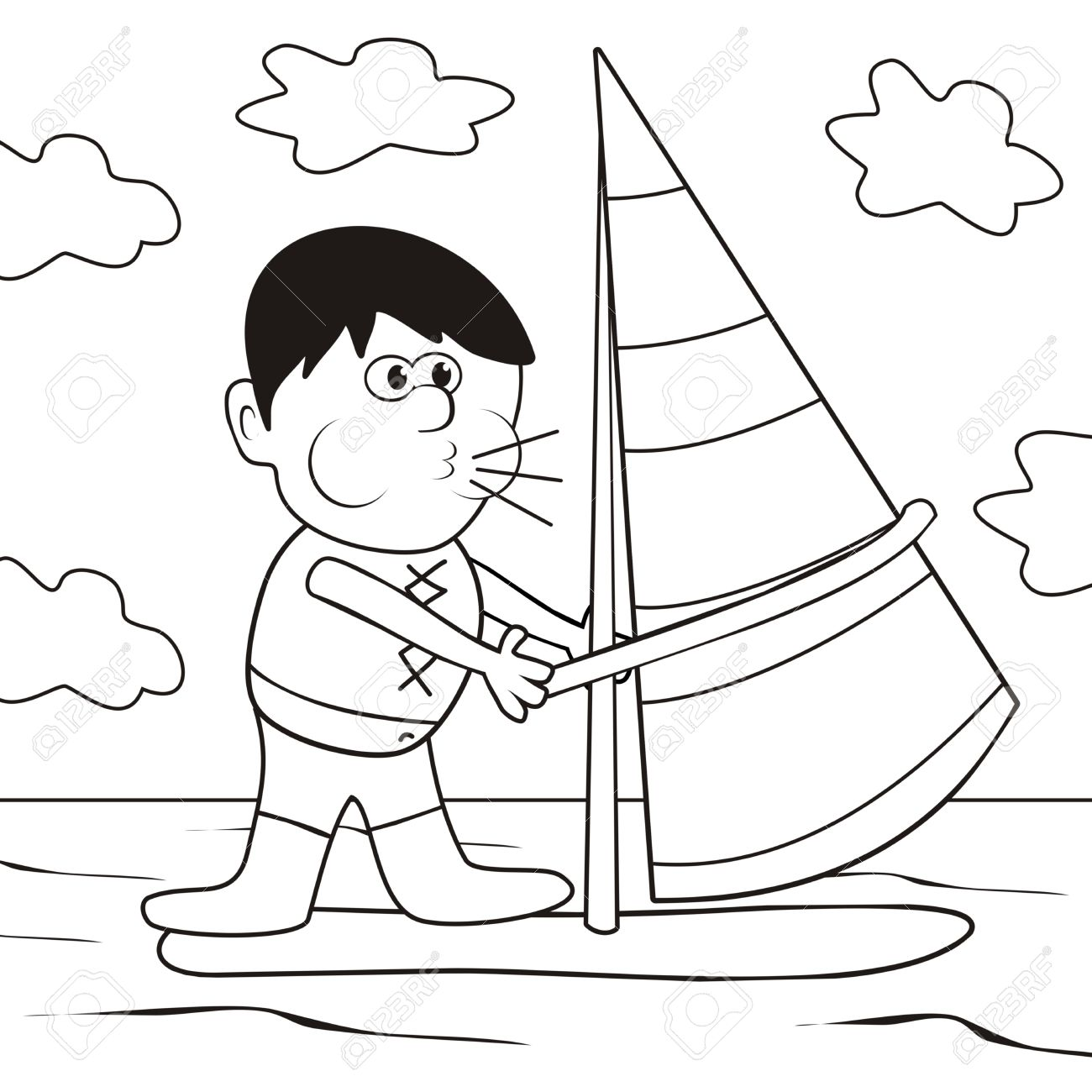 Windsurfing Coloring Book Royalty Free Cliparts Vectors And Stock