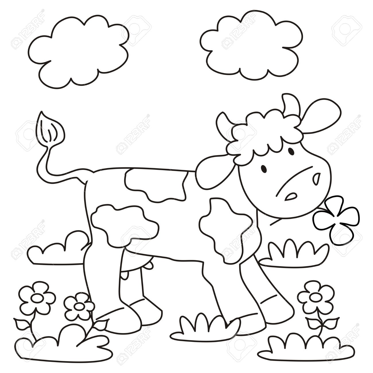cow coloring book royalty free cliparts vectors and stock