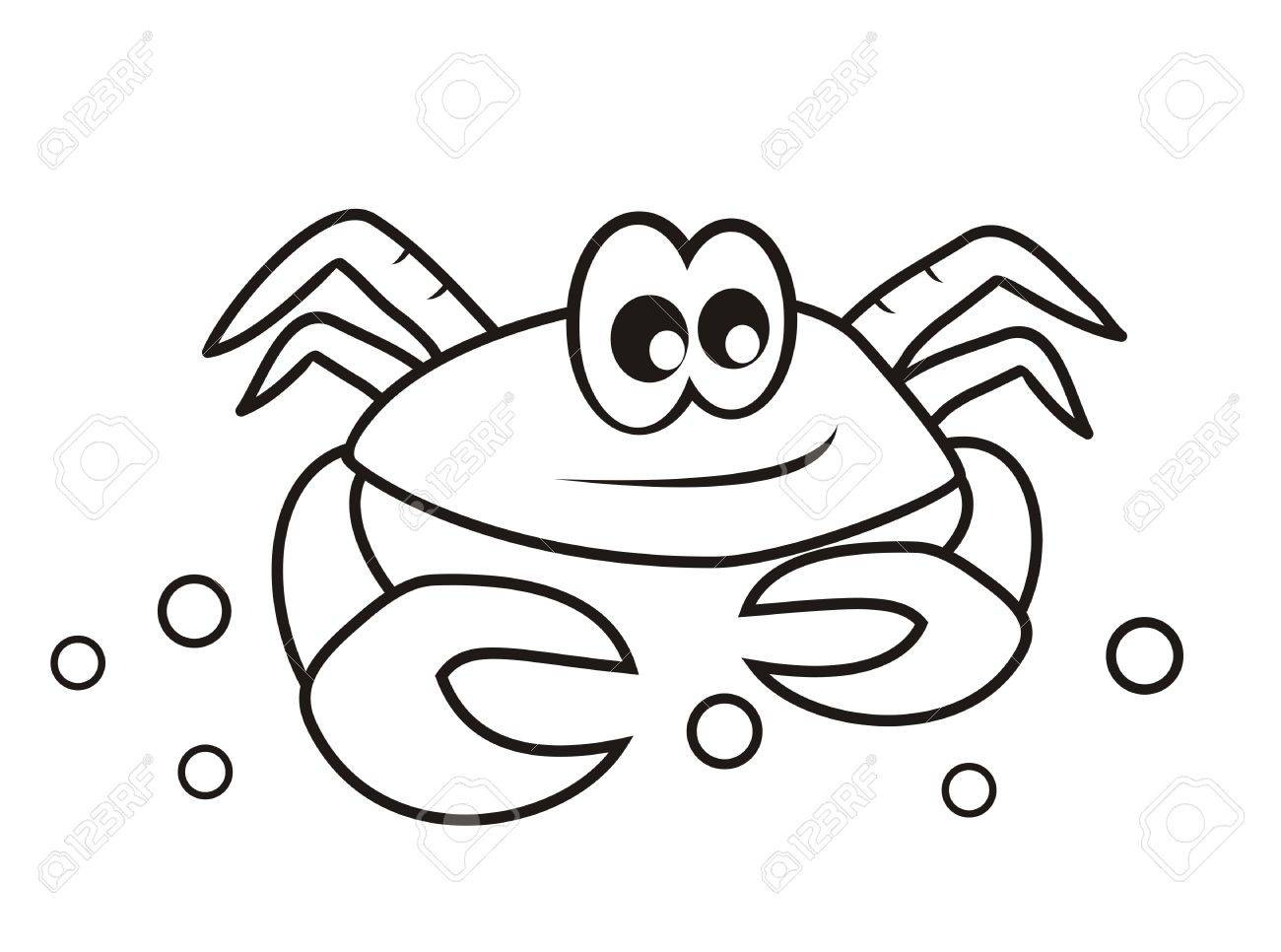 Crab Coloring Book Royalty Free Klipartlar Vektör çizimler Ve