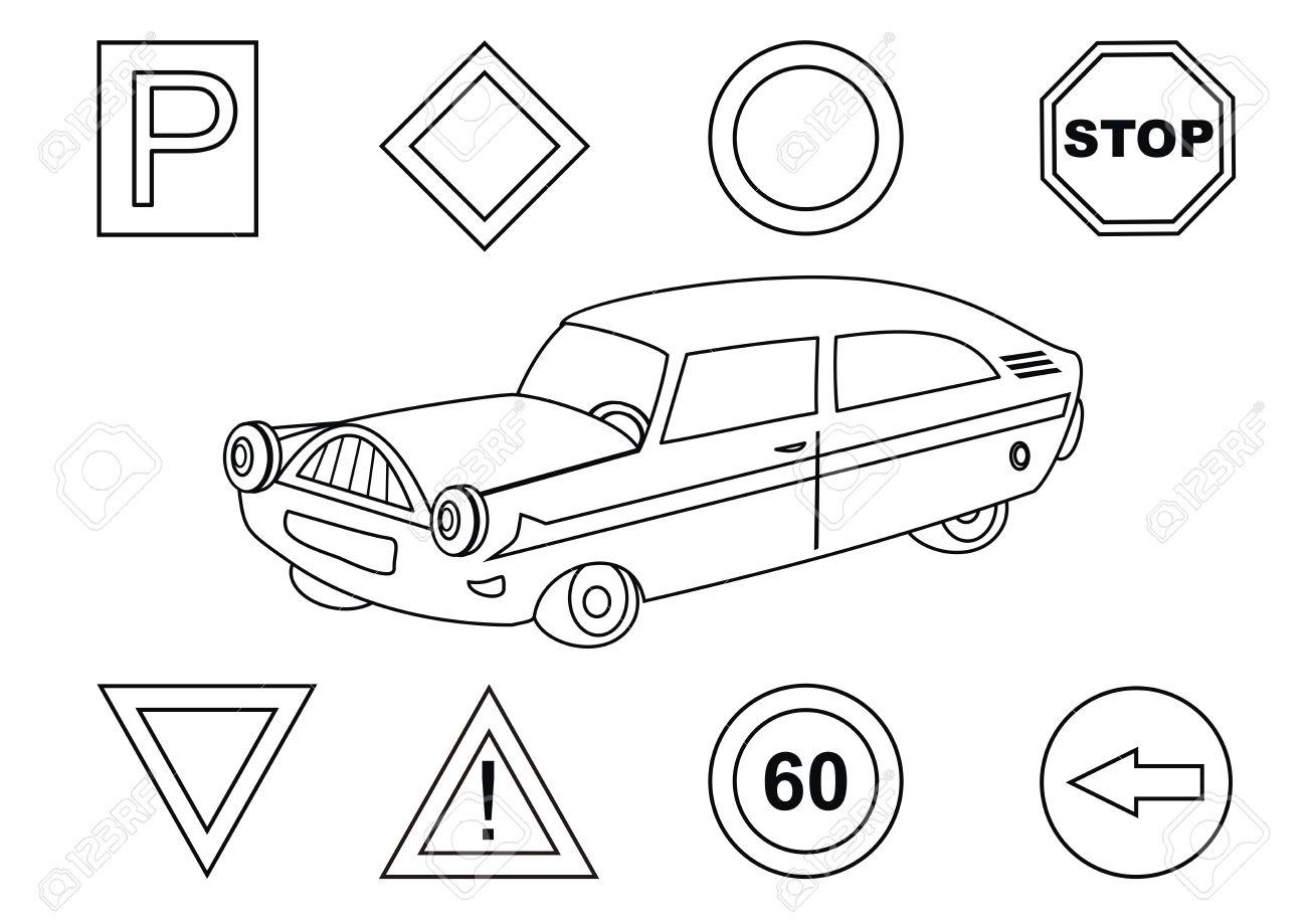 車および交通標識 塗り絵のイラスト素材ベクタ Image 28074587