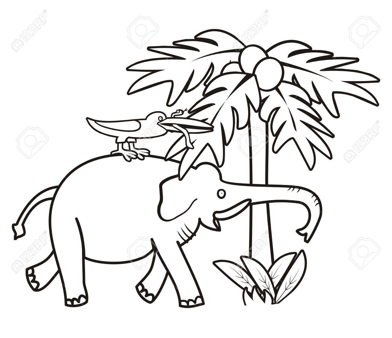 Elephant And Bird - Coloring Book Royalty Free Cliparts, Vectors ...