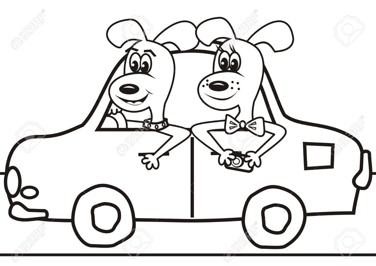 Dogs In The Car Coloring Book Stock Vector