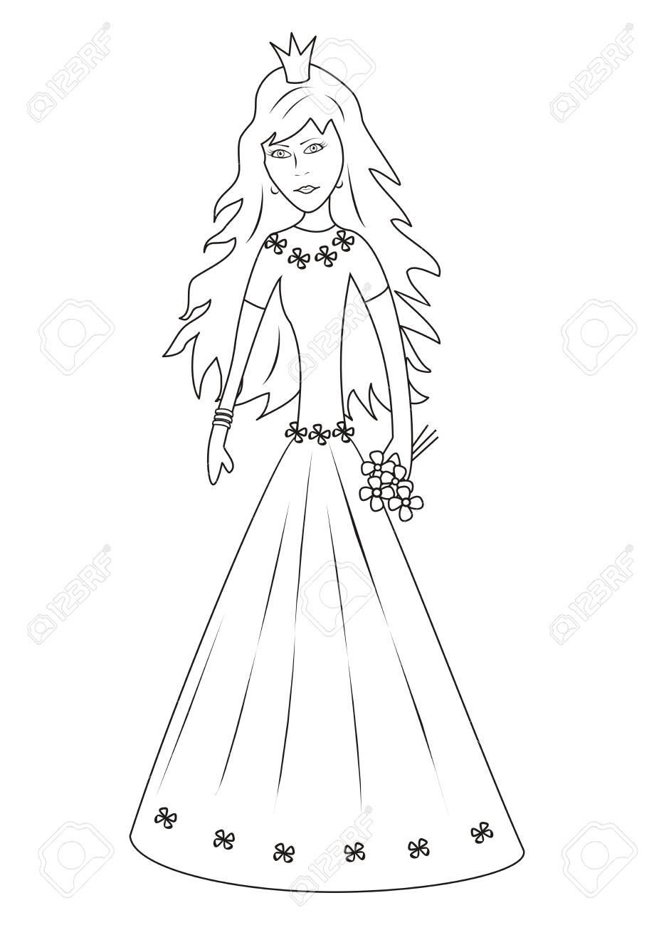 プリンセスぬりえのイラスト素材ベクタ Image 29432464