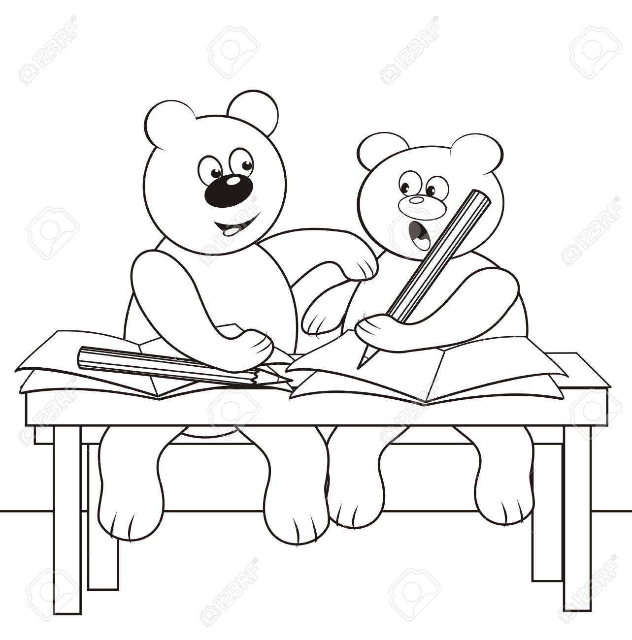 bears in the school - coloring book